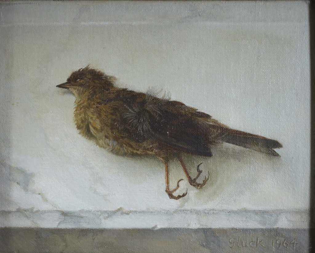 a painting of a dead garden bird
