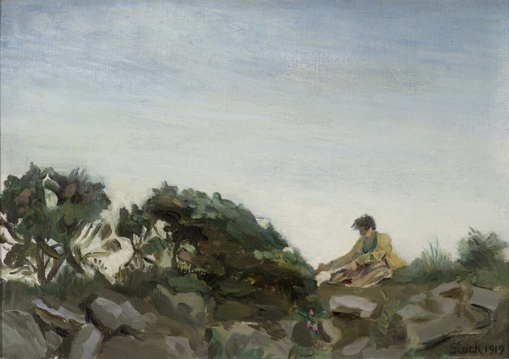 an oil sketch of a woman with short hair sketching on a moor