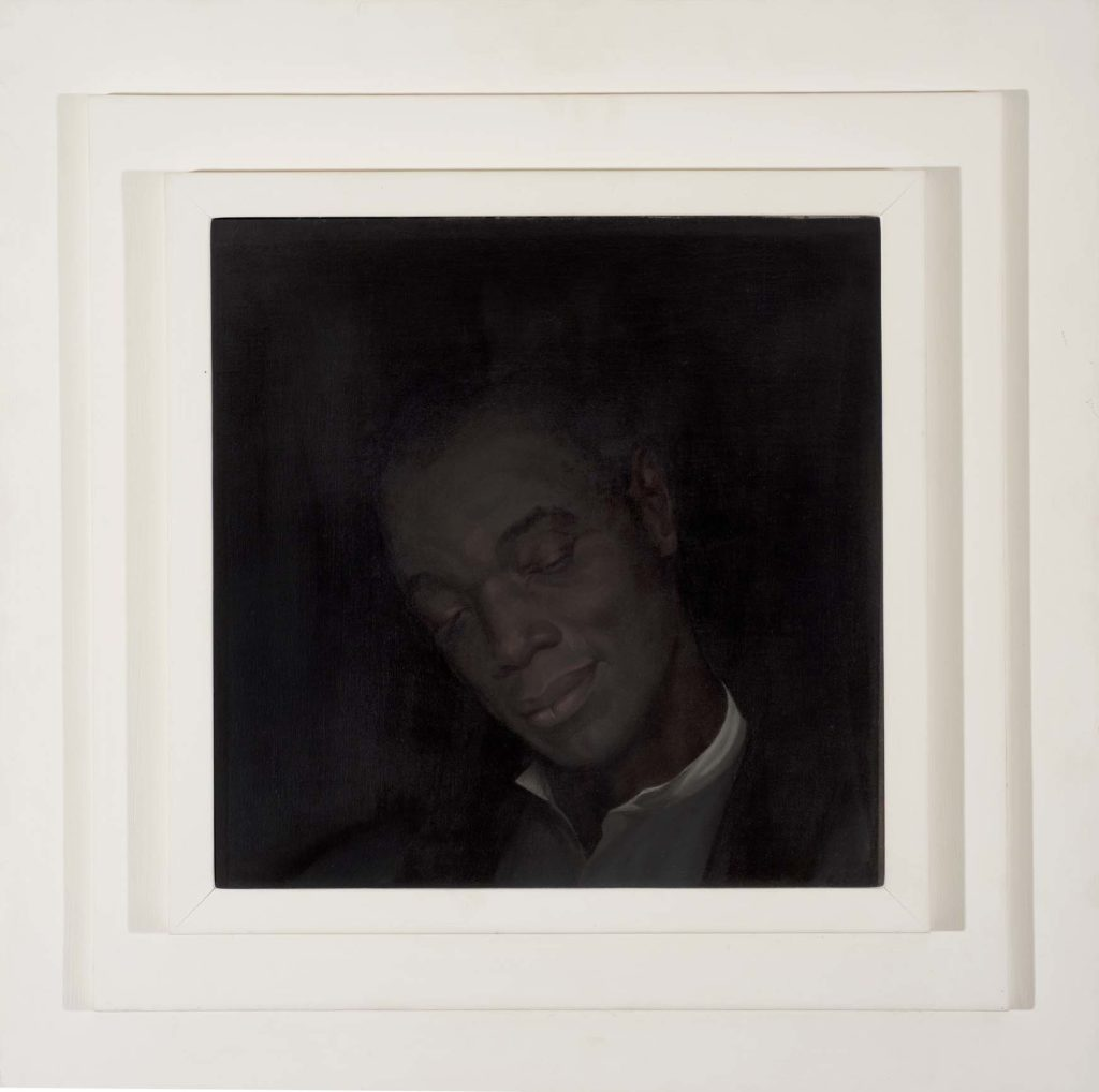 a painting of a man in dark shadows framed by a triple white frame