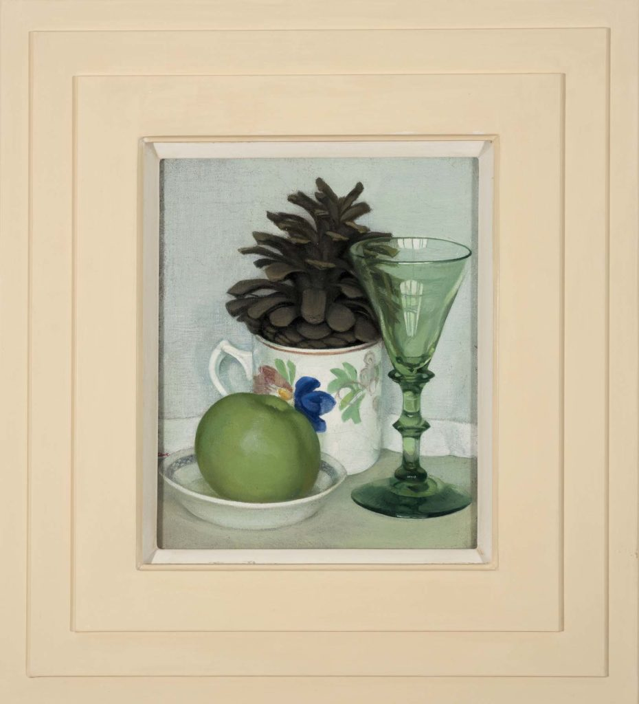 astill life painting of a teacup with a pine cone in it and green glass in triple layered square frame