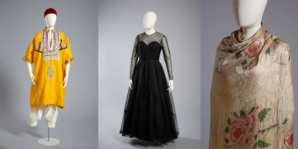 a composite triptych of photos showing a yellow smock, black evening gown and golden shawl