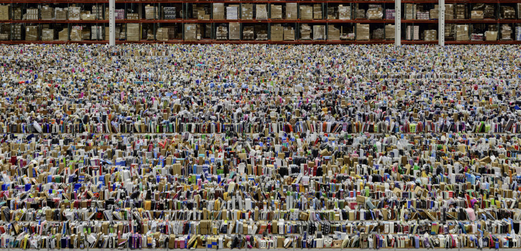 photograph of large warehouse containing thousands of different products