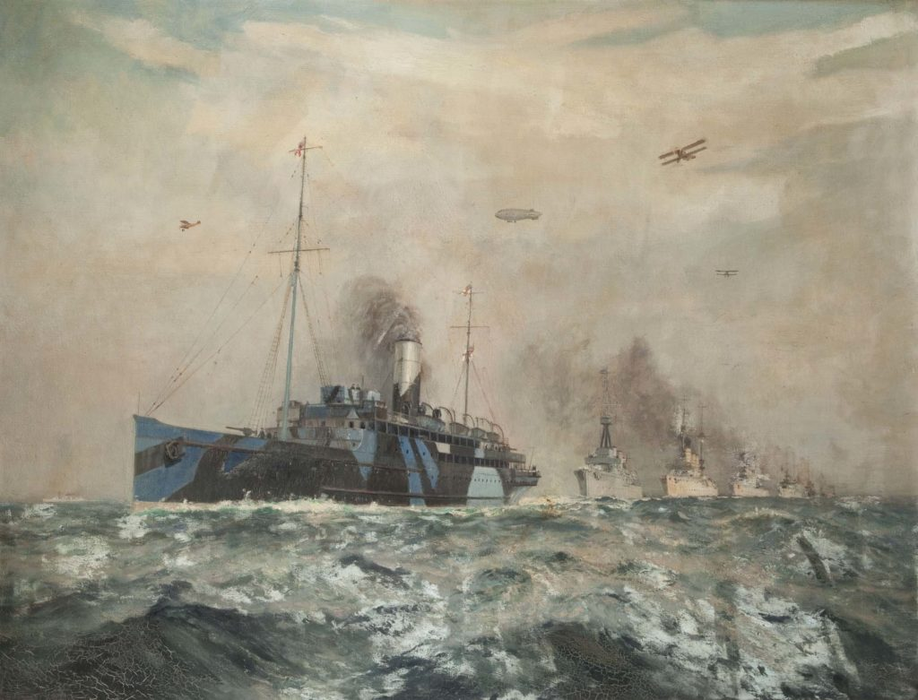 a painting of a steamship painyed in dazzle camouflage steaming across an ocean with other ships in her wake