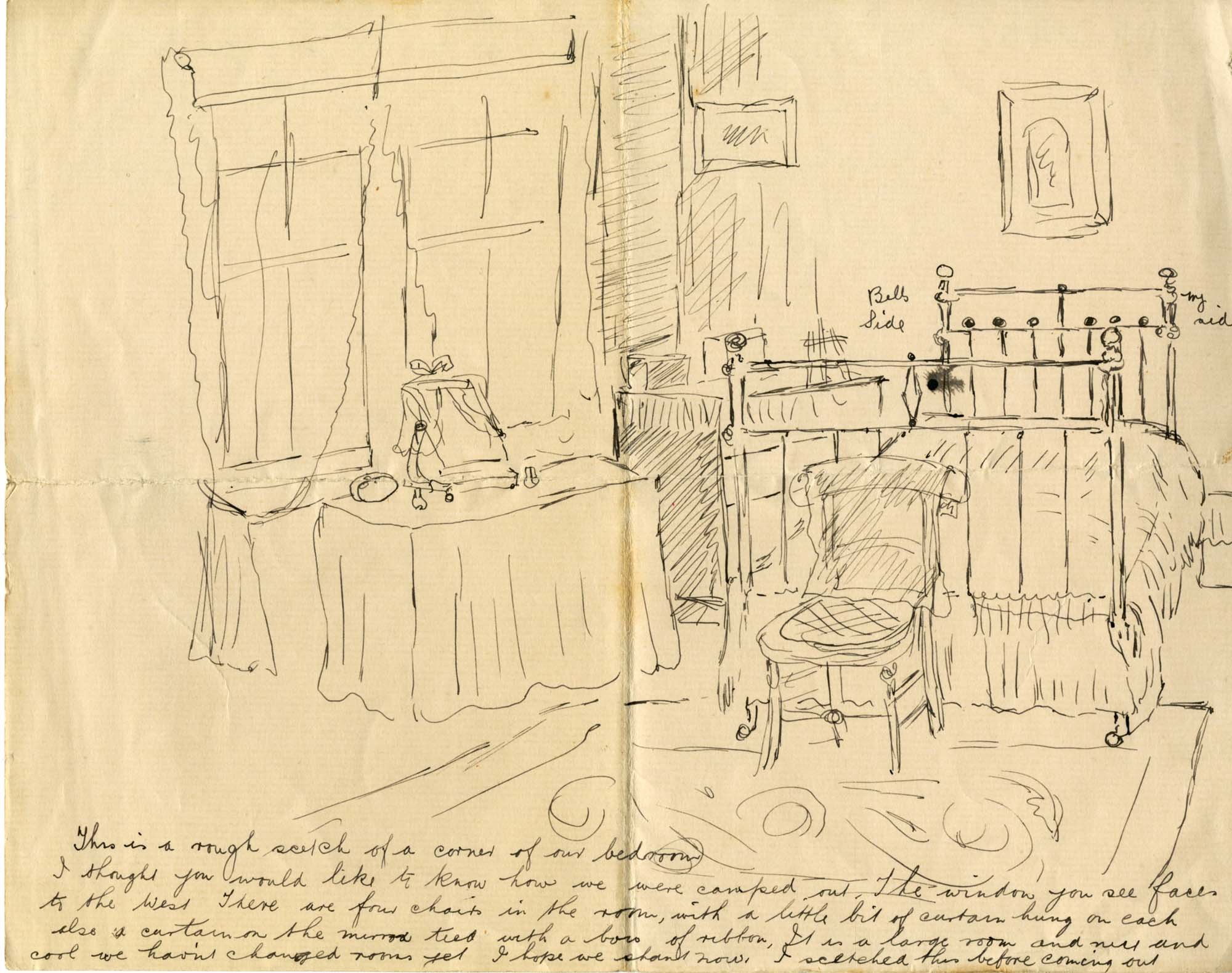 a drawing of a room with a bedstead and bedside table