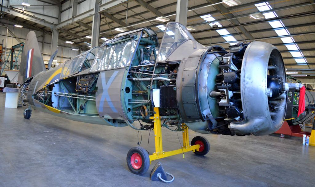 a photo of the stripped down fuselage of a Westland Lysander