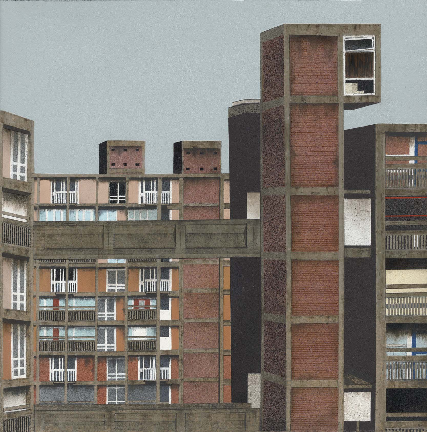 a painting of a brutalist high rise complex