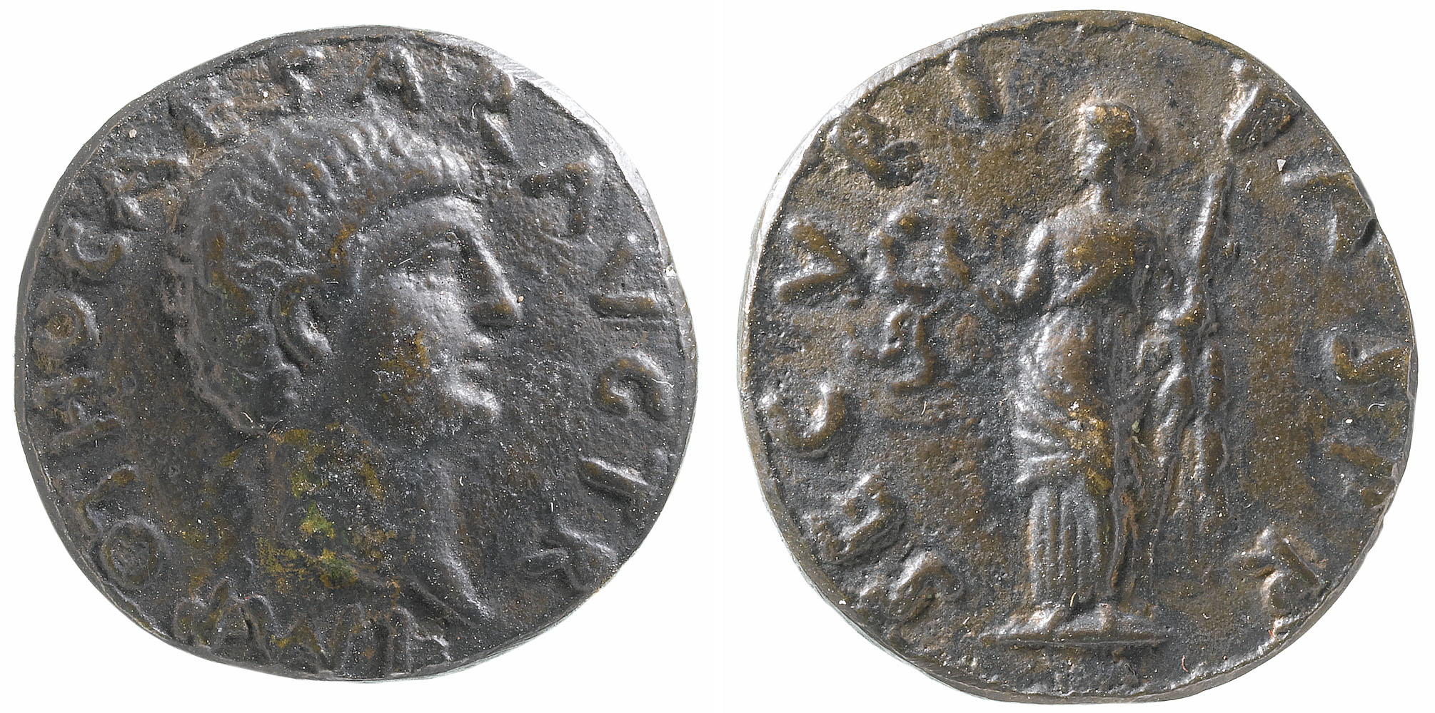 a photo of both sides of a roman styled coin