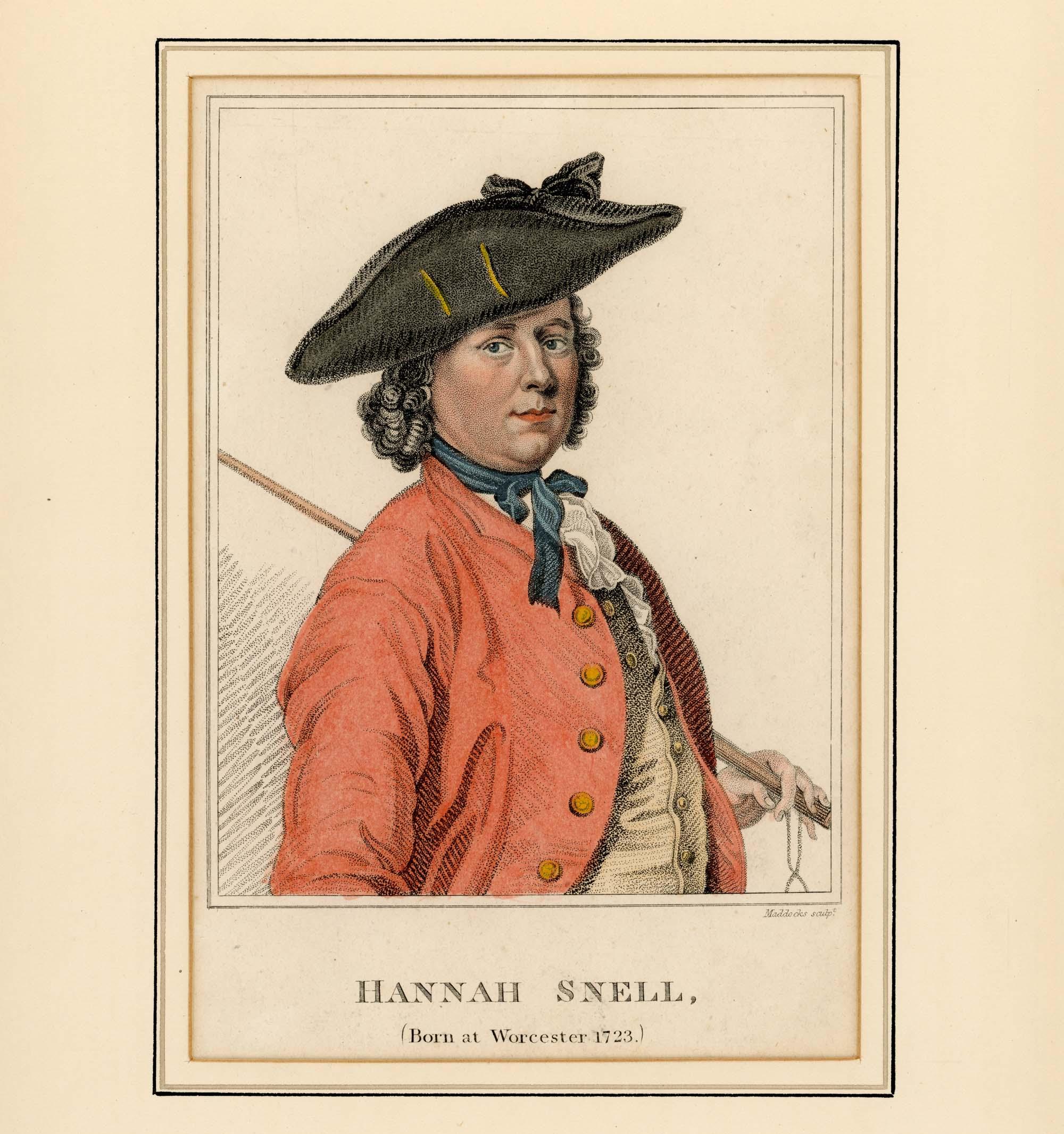 a print of a woman in Georgian era tricorn hat