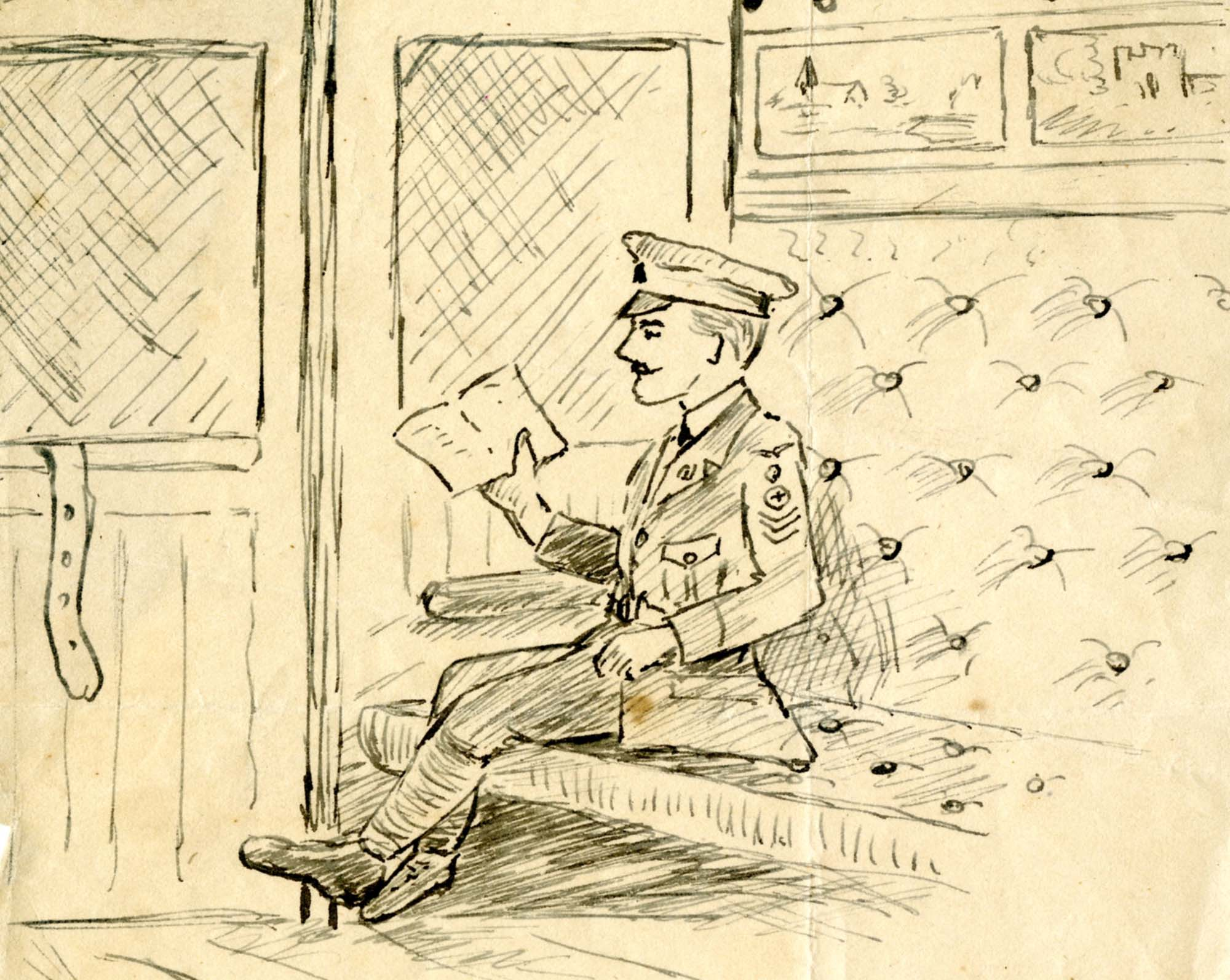 a drawing of a soldier reading a paper on a train
