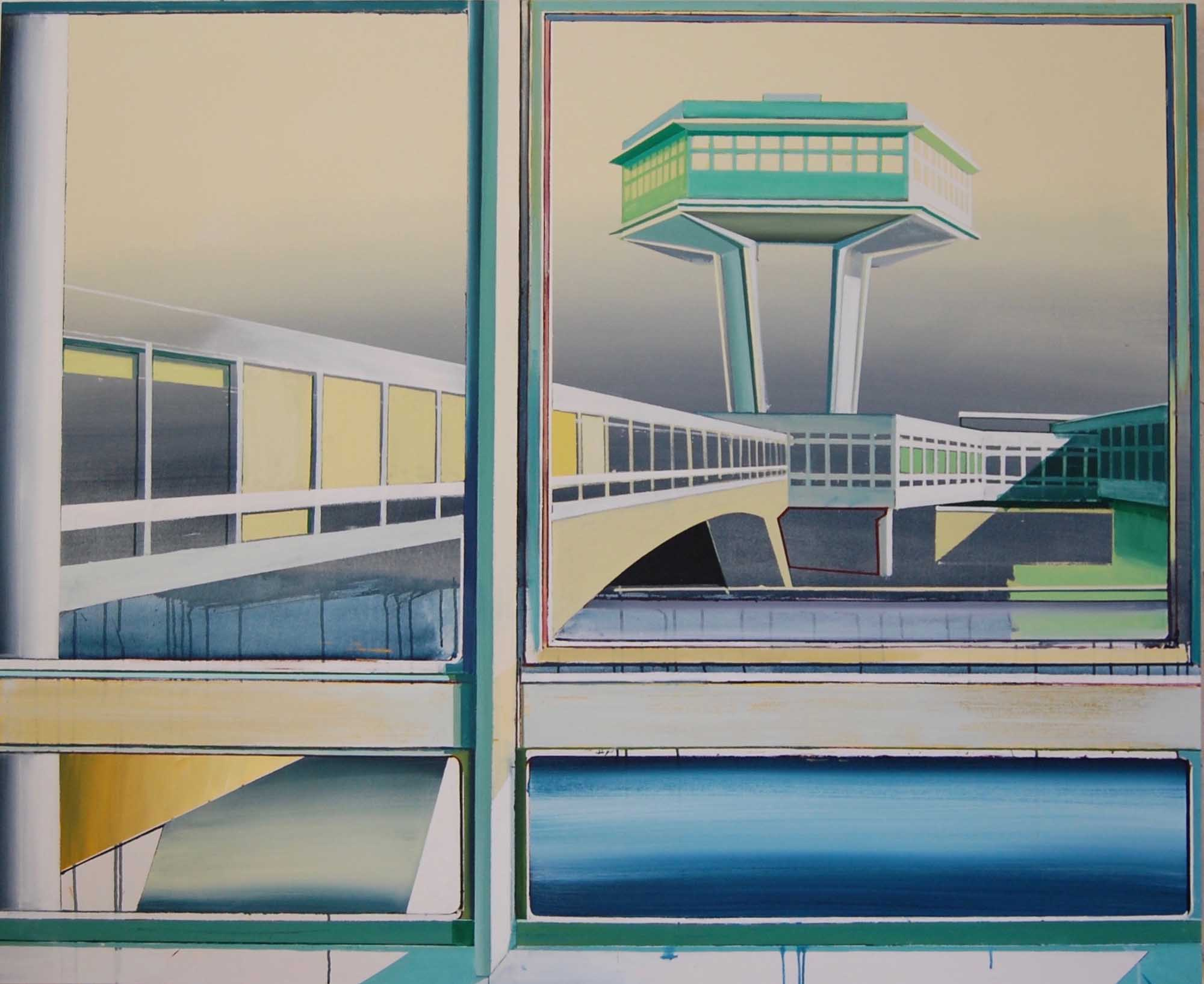 a painting of a futuristic 1930s modernist tower seen through a window