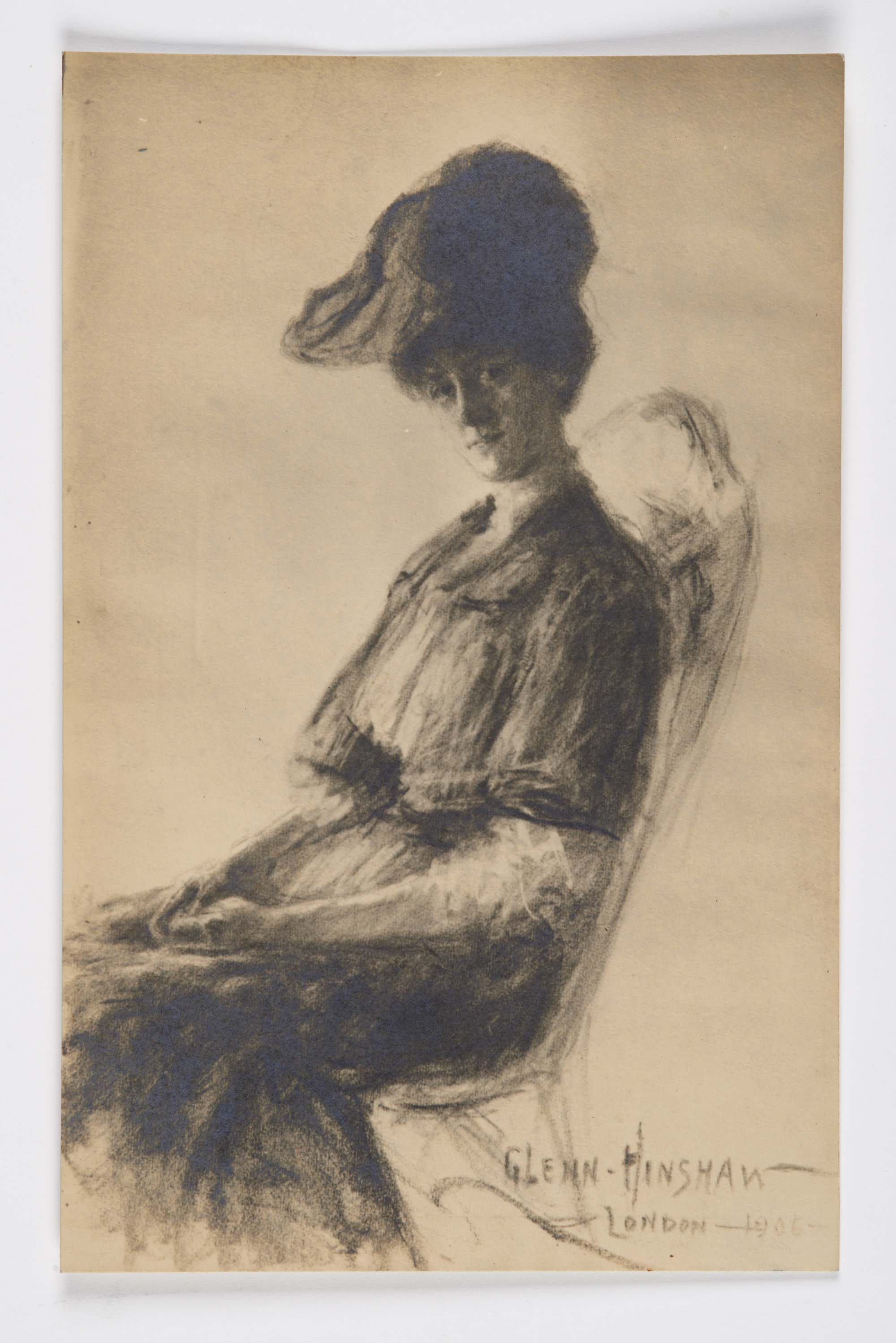 a print of a watercolour of a seated Edwardian lady