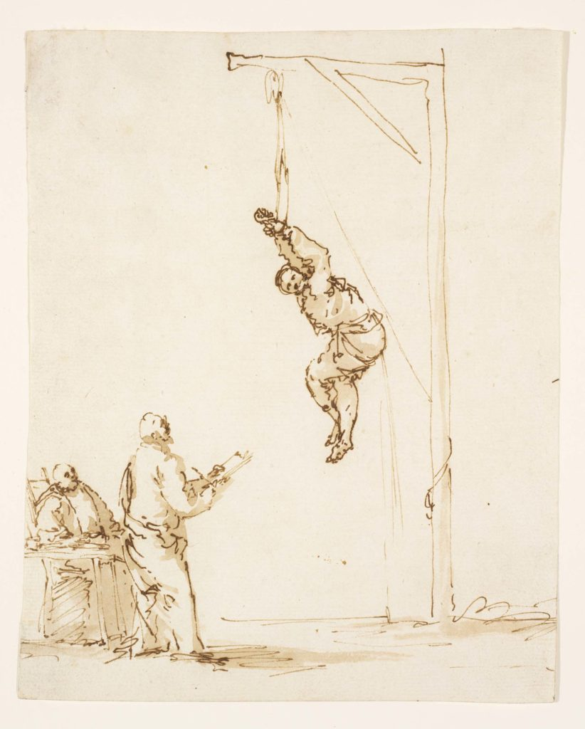 a sketch of a figure hoisted on a gallows by his arms