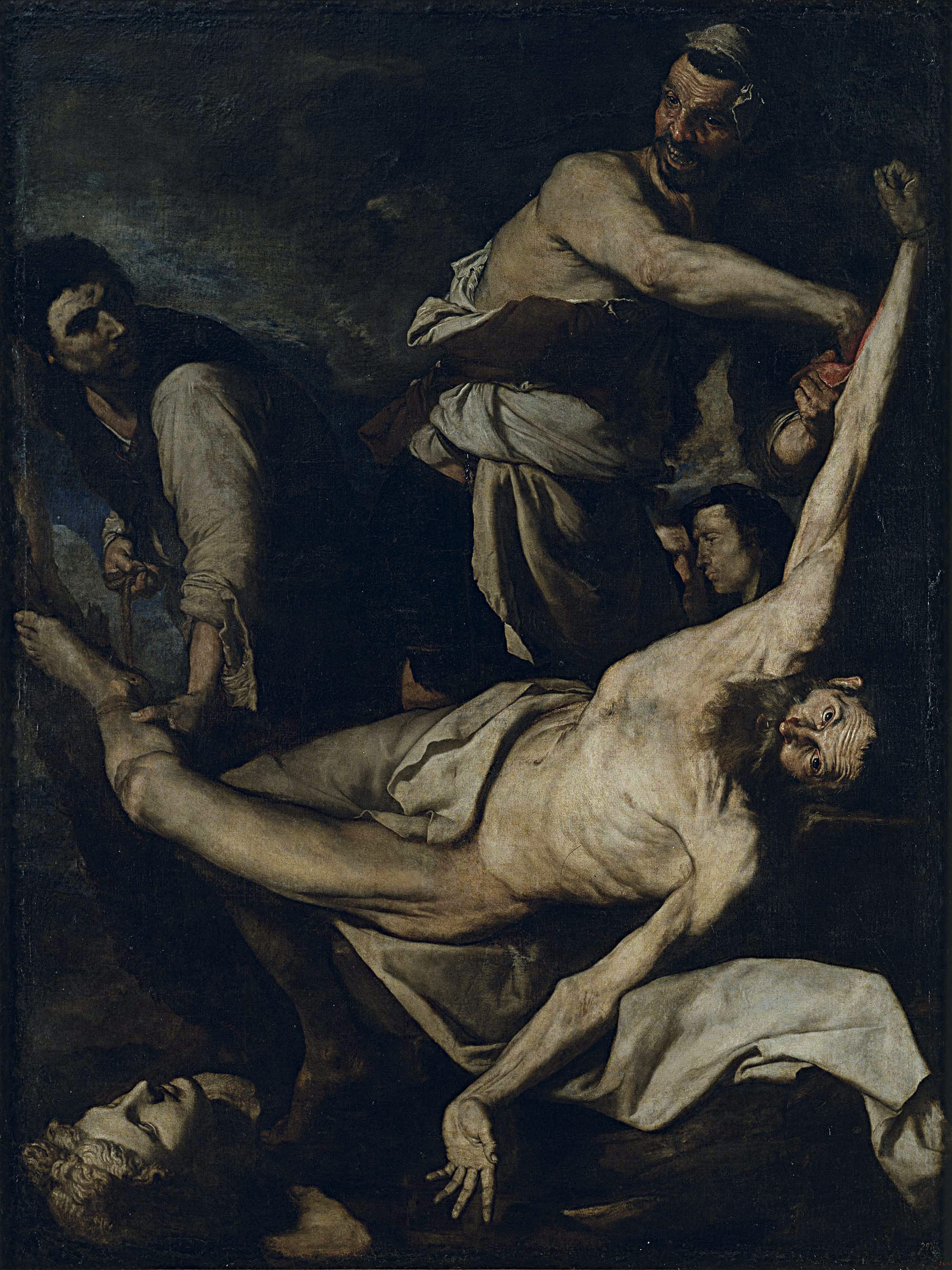 a dark painting of people tending a prone, semi naked figure