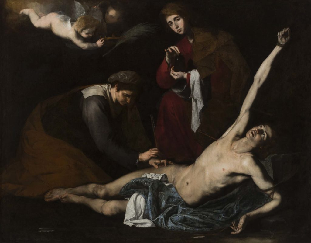 a painting of a prone, naked figure tended by women