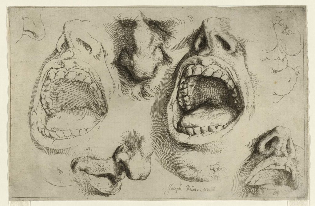 a seried of drawings of open mouths and flared nostrils