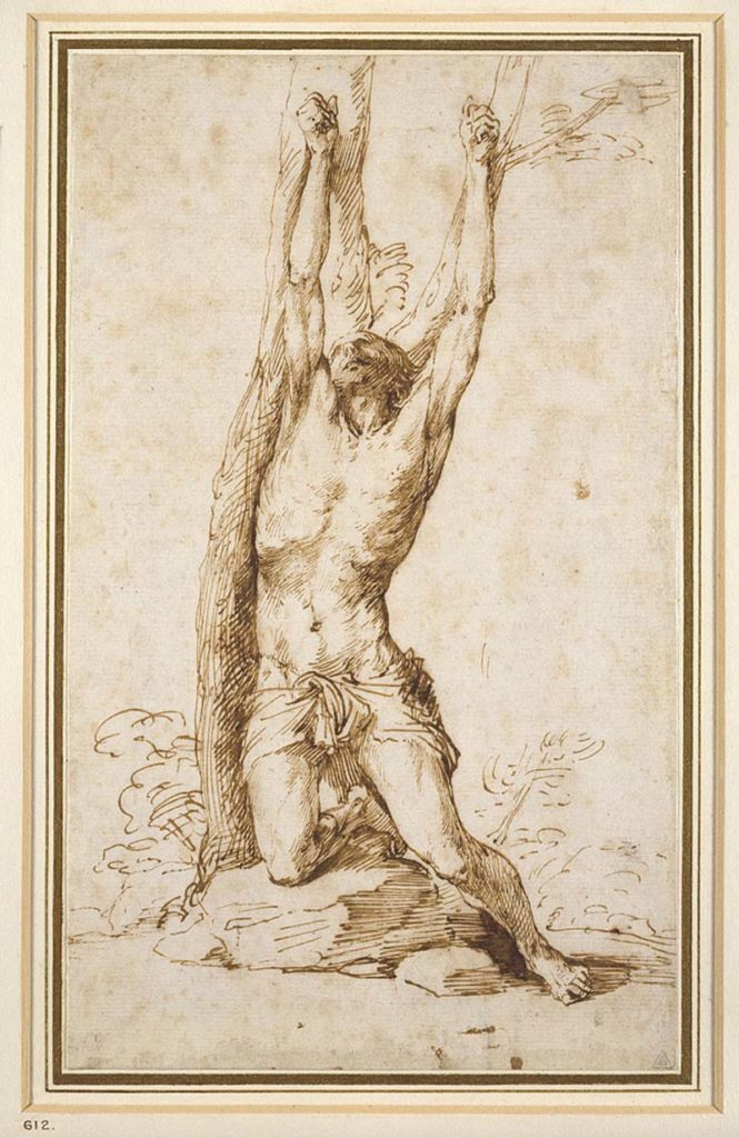 a sketch of a pained figure hoisted by his arms
