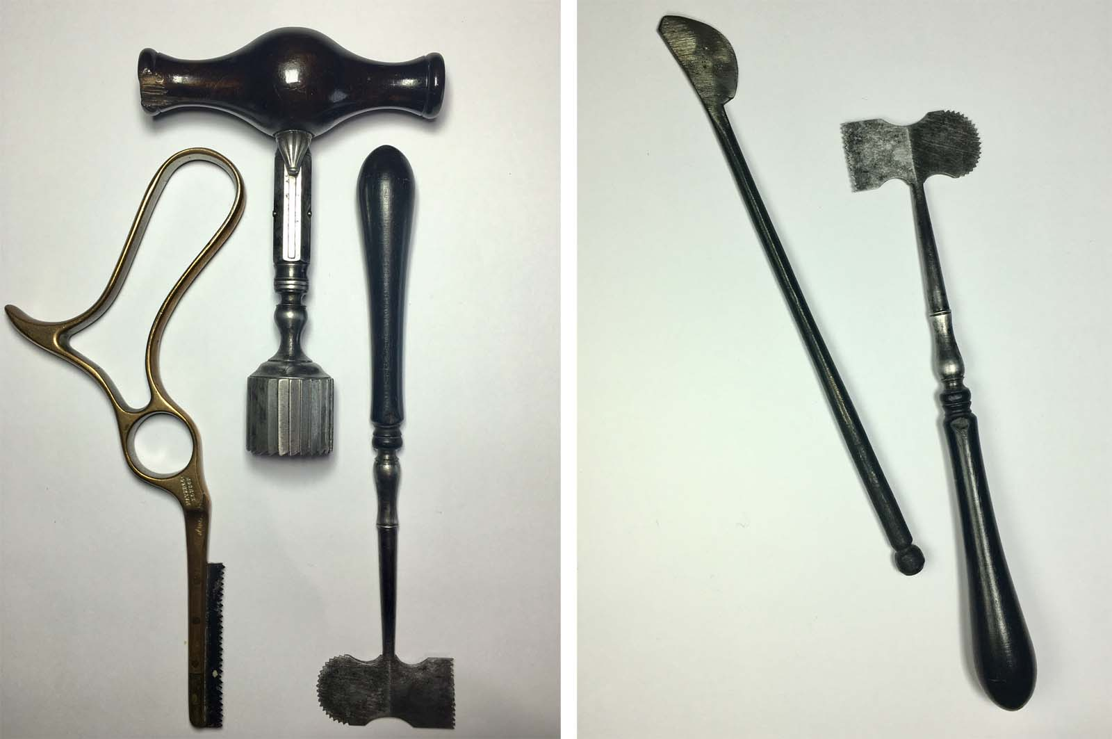 a side by side photo of various surgical implements and trepanning devices