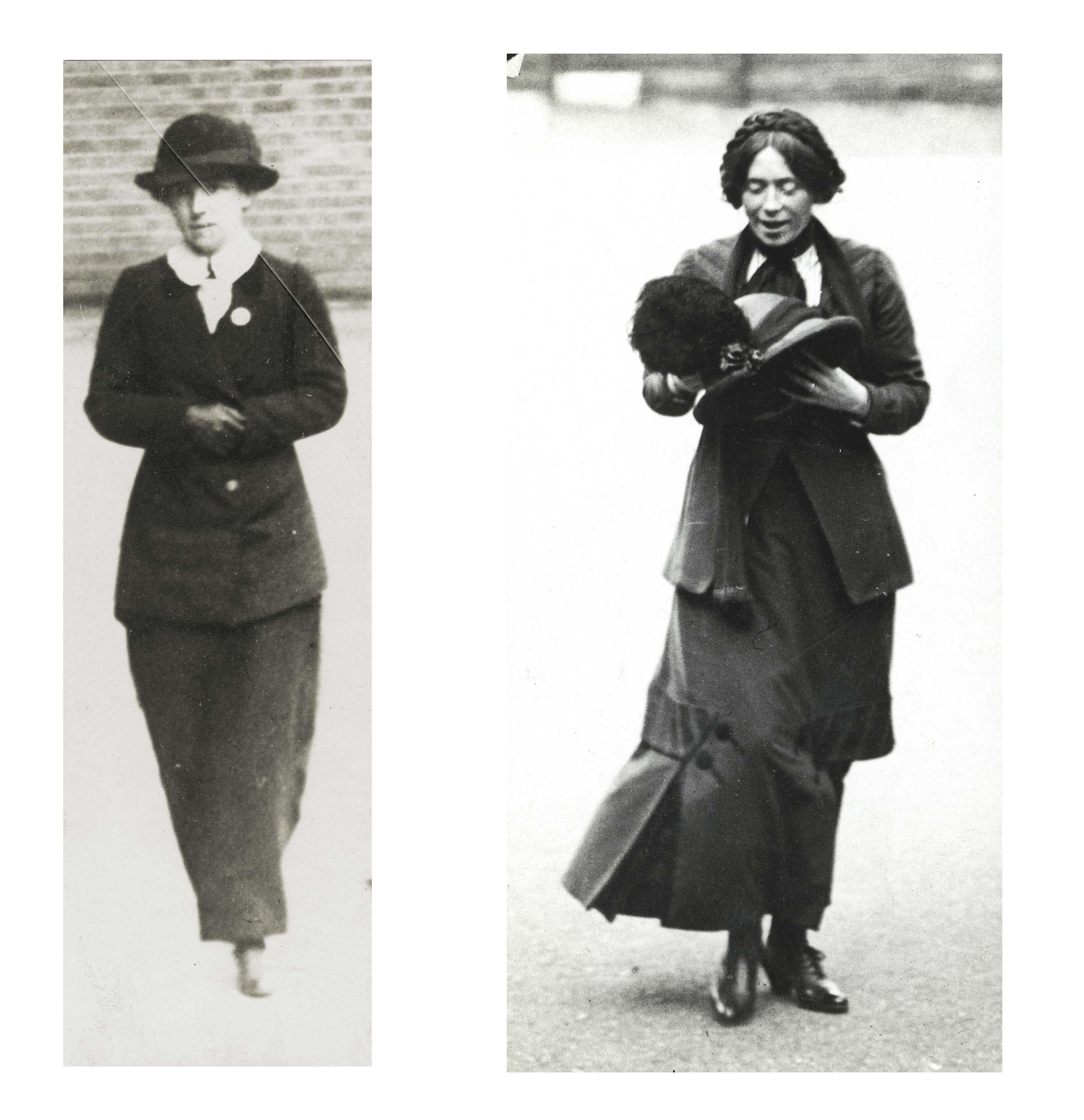 a composite photo of two women in Edwardian dress walking across a yard