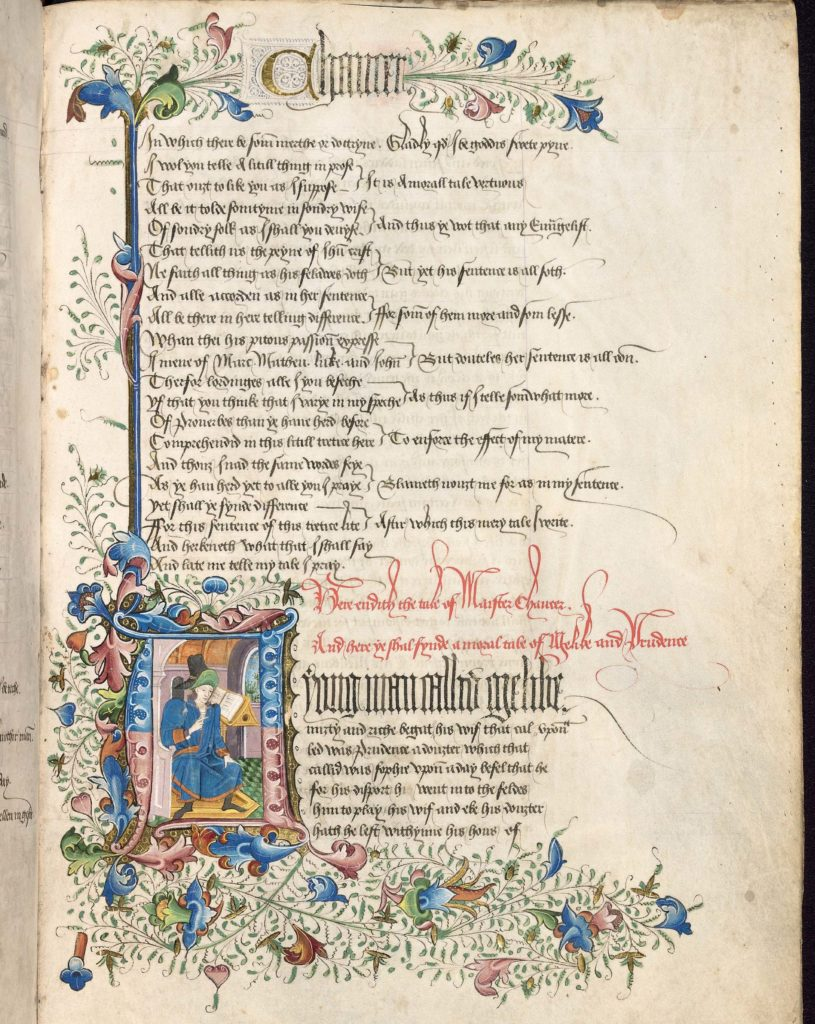 a photo of a manuscript with an illumination in its corner