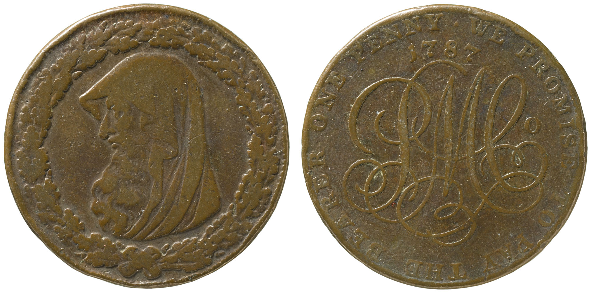 a photo of both sides of a brownish bronze coloured token with a hooded figure in profile