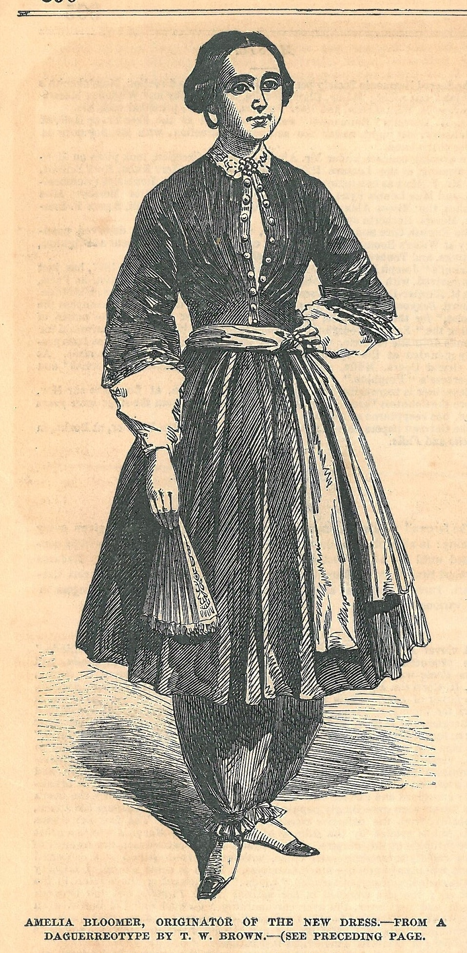 a n illustration of a woman wearing a petticoat over trousers