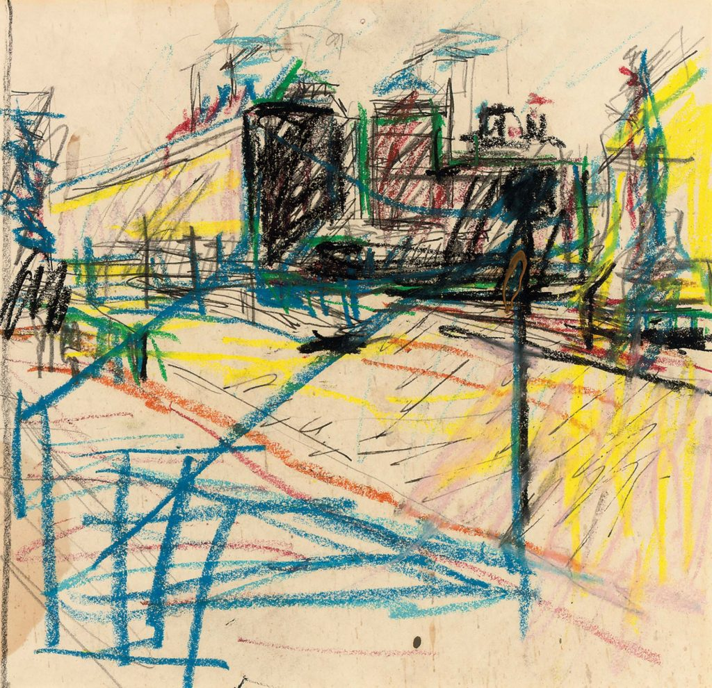 an abstract crayon drawing showing buildings