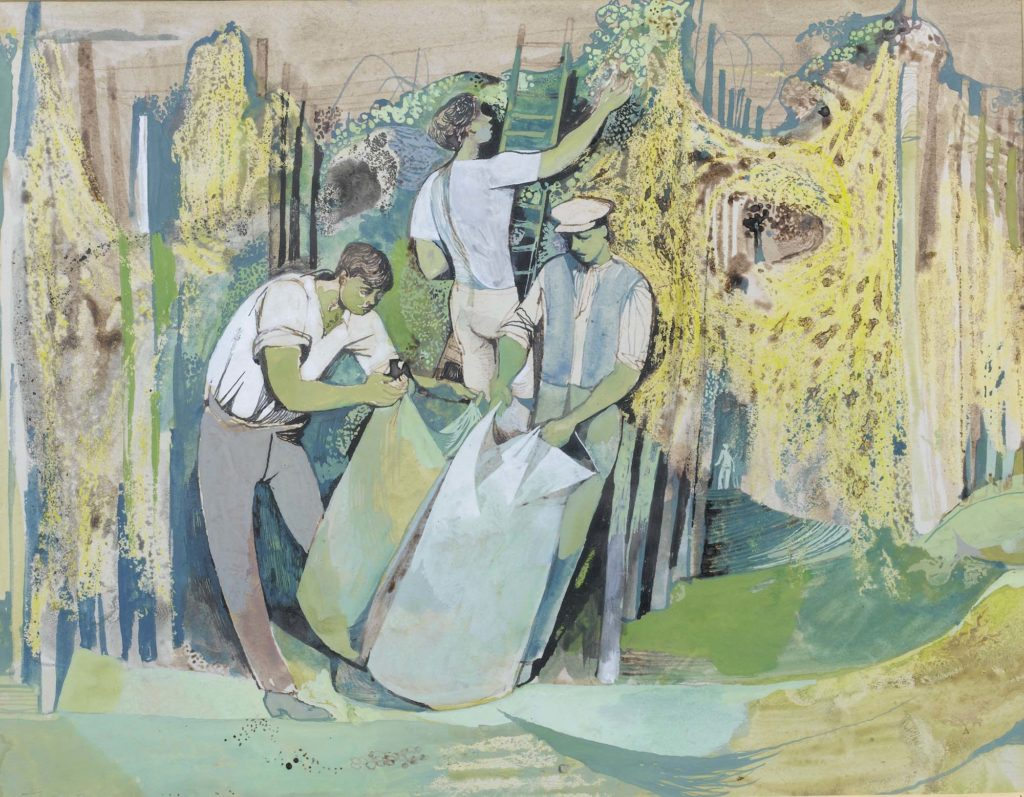 a watercolour of three men owrking in an orchard