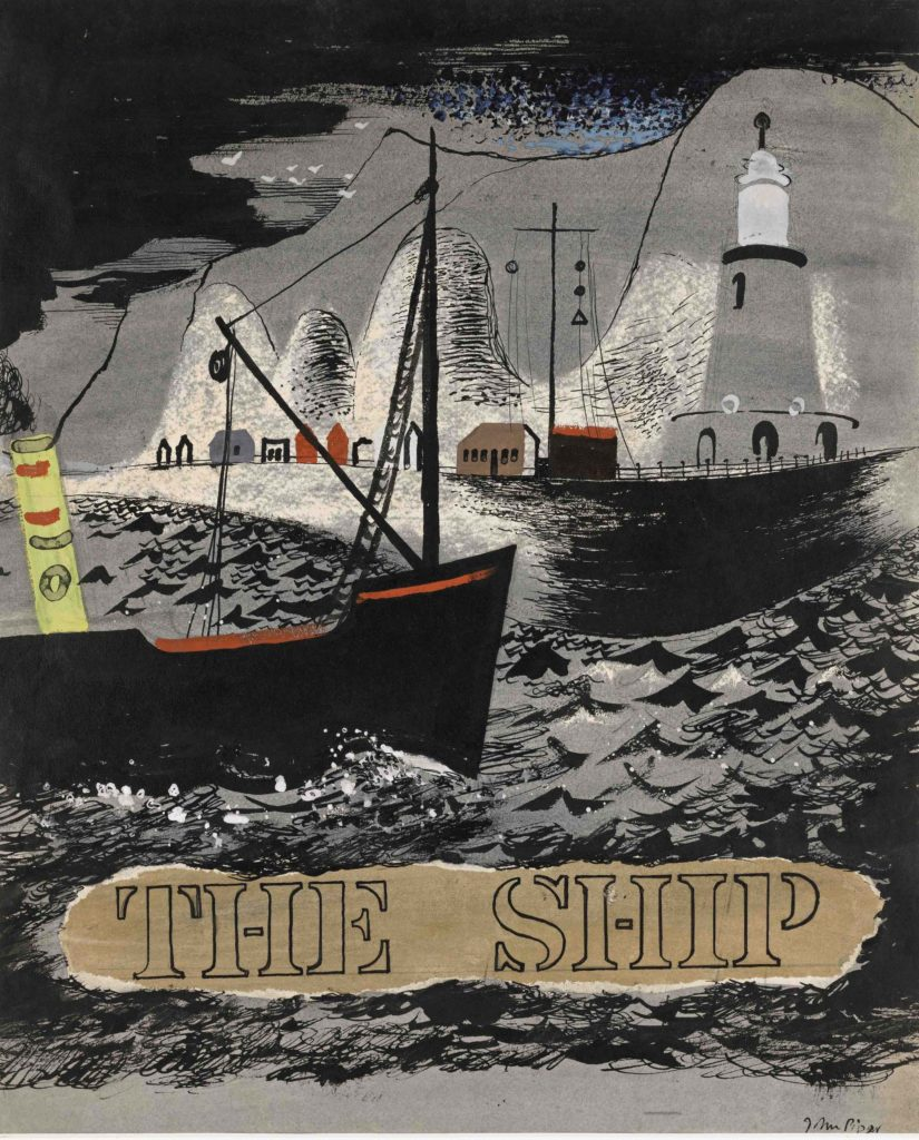 a print of sveral ships in a harbour with the words the Ship underneath
