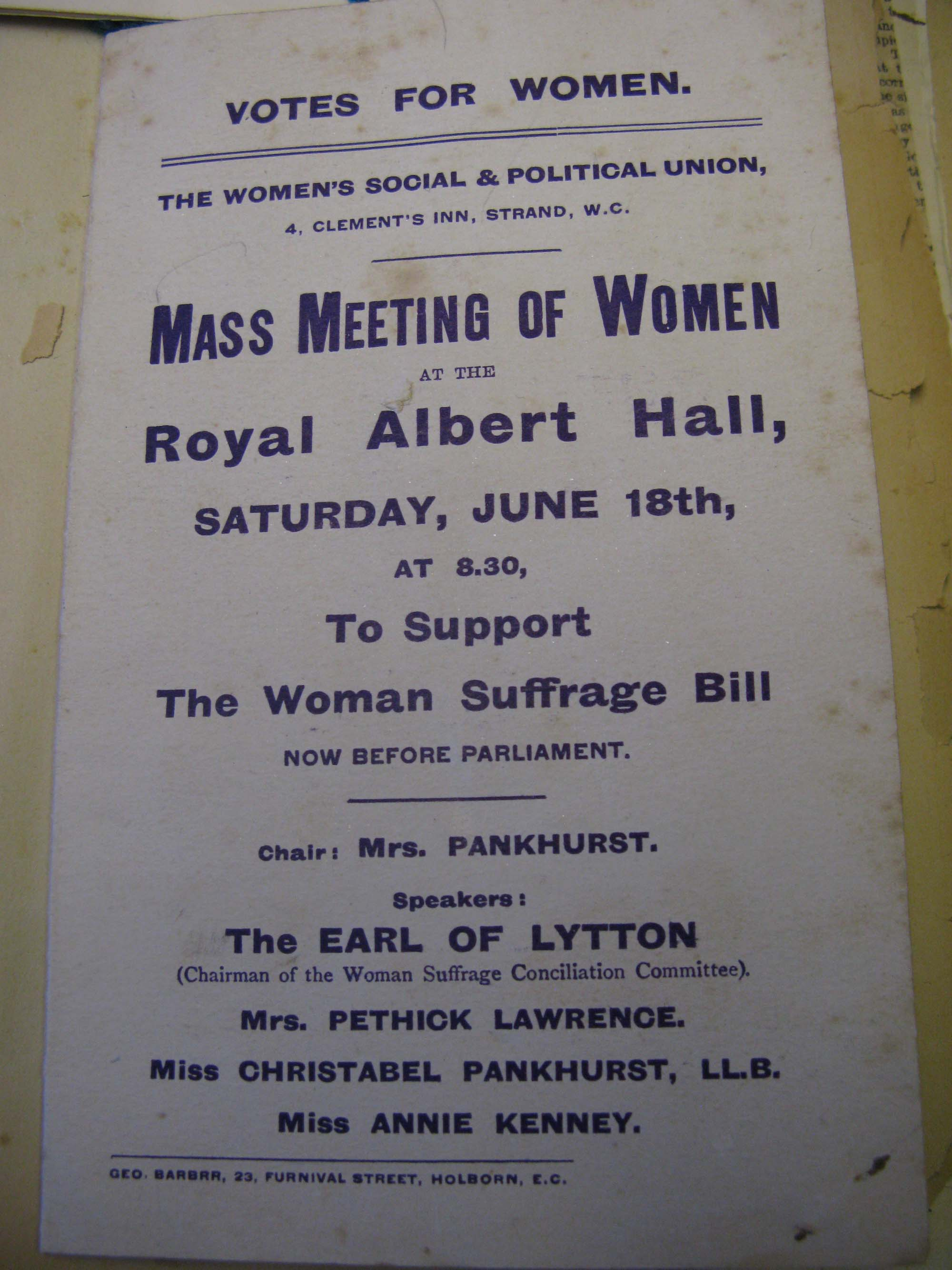 a photo of a flyer with mass meeting of Women Royal Albert Hall