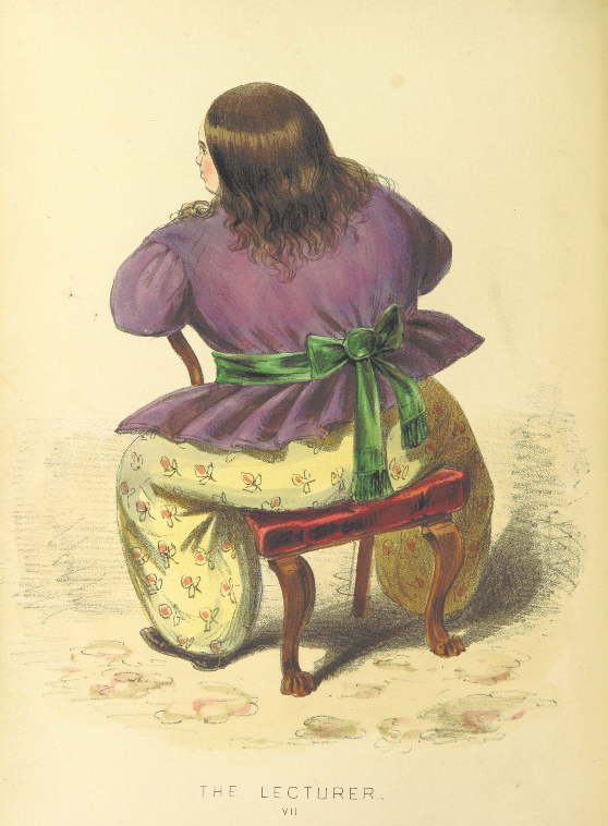 a drawing of a large lady yellow trousers astride a chair