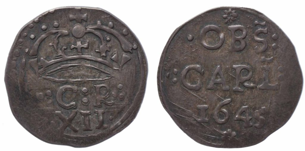 a photo of both sides of a coin with a xipher on one side and a date of 1645 on the other