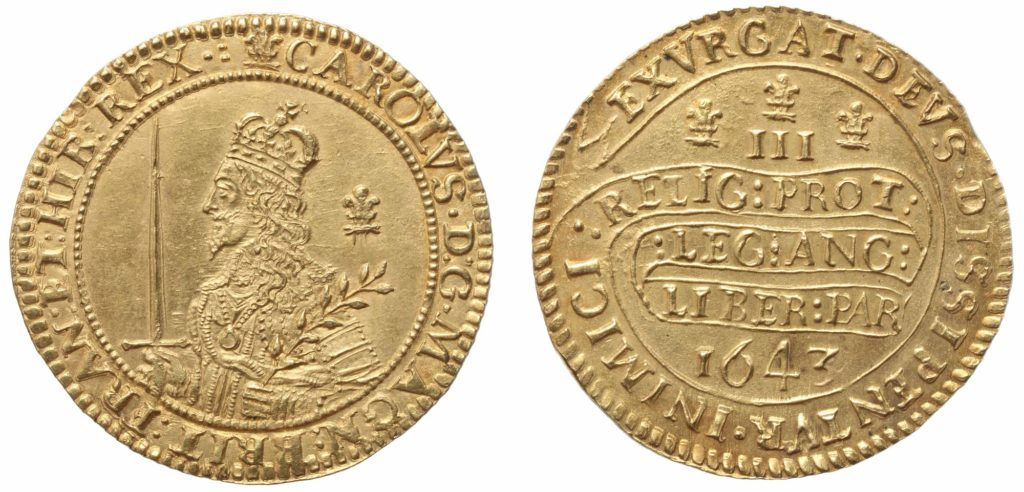 a photo of both sides of a gold coin featuring the image of Charles I on one side