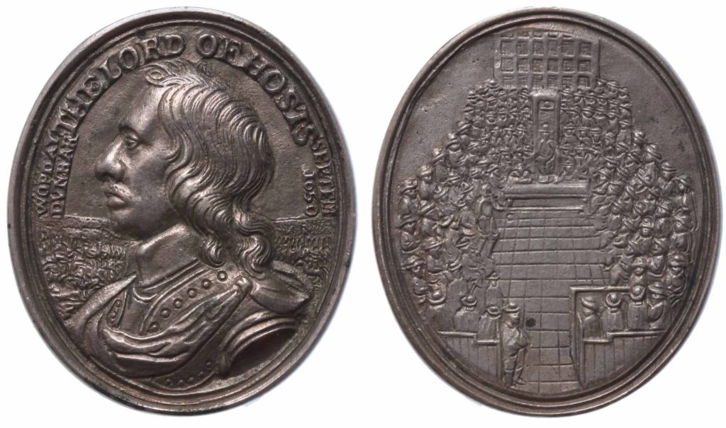 a photo of both sides of a coins showing Oliver Cromwell and a sitting in Parliament