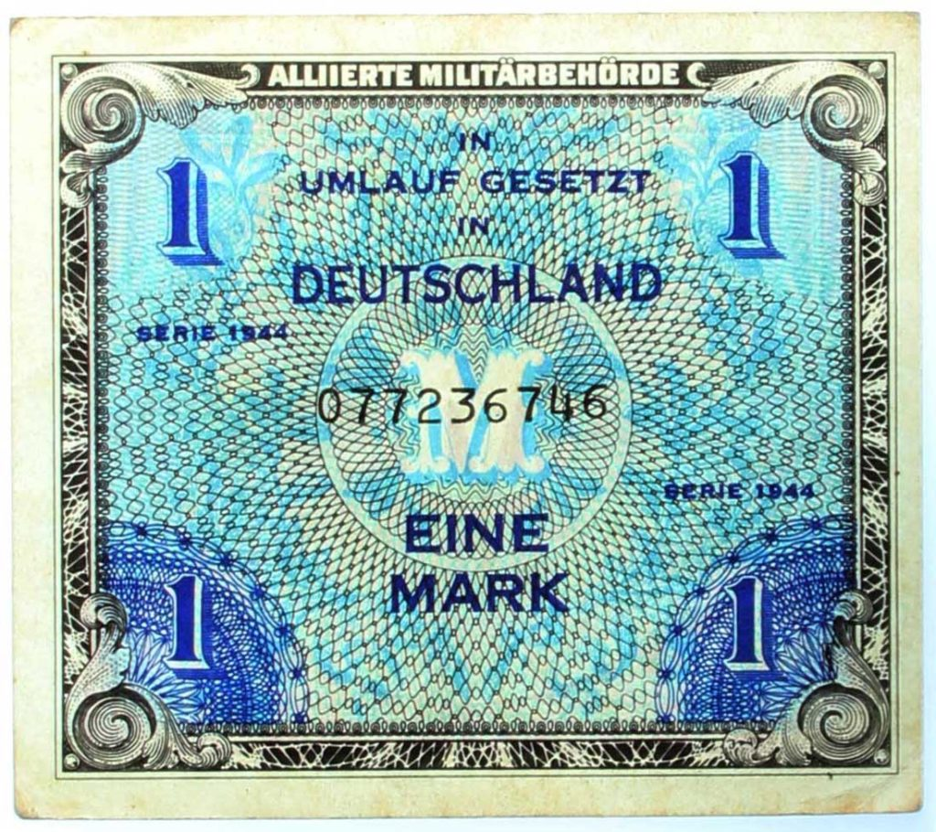 a photo of a one mark note issued in occupied Germany during World War Two