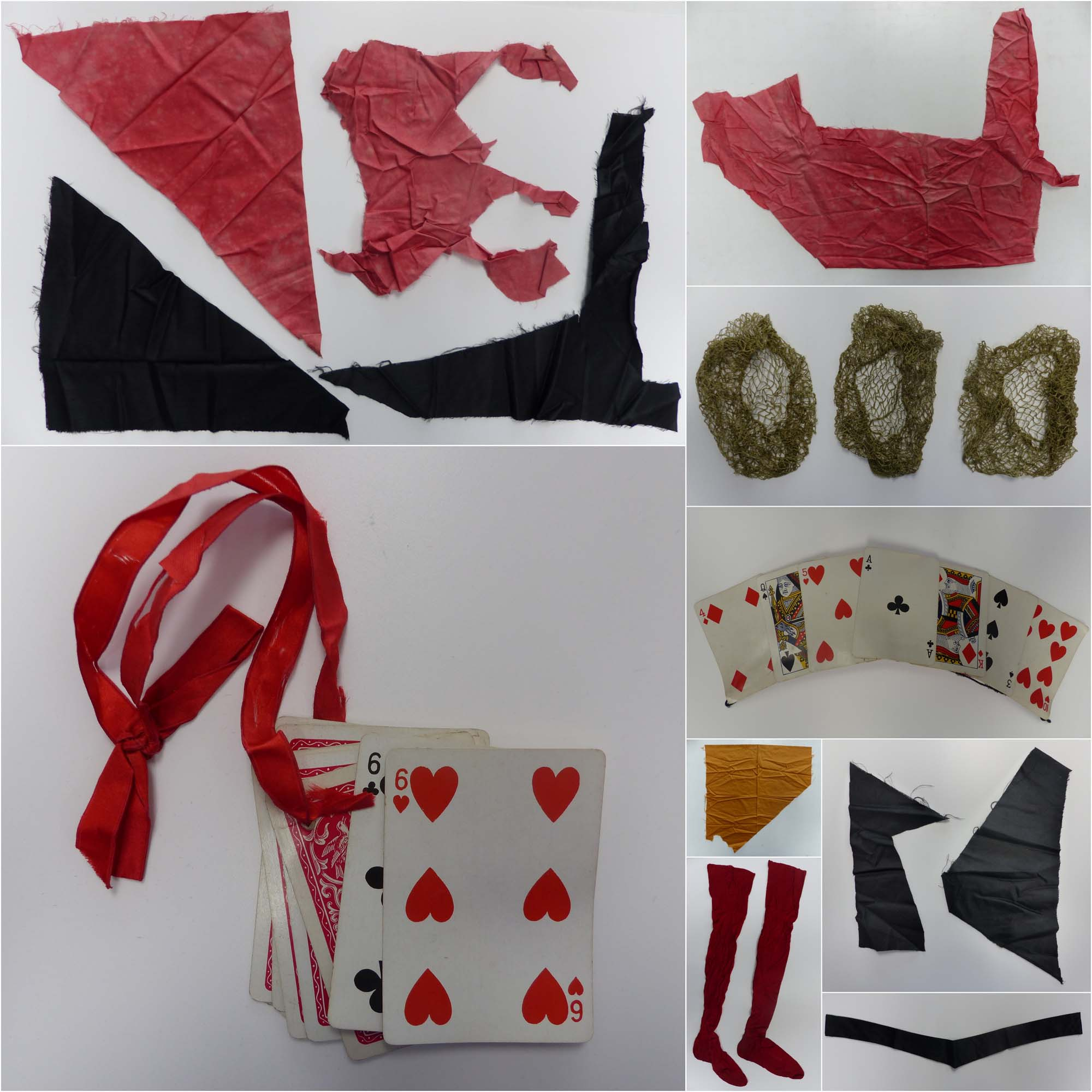a composite photo showing playing cards, red tights and fragments of fabric