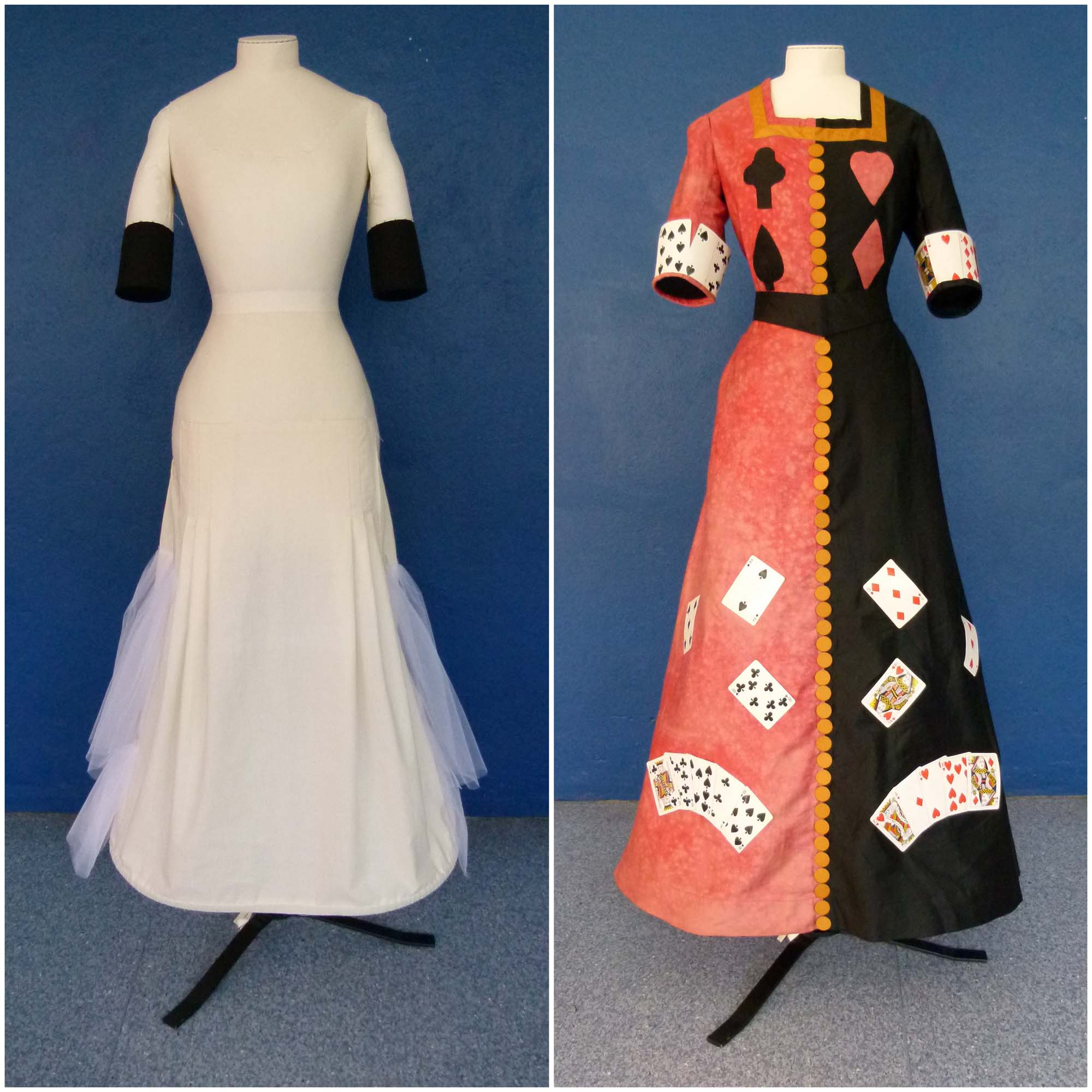 a side by side photo of a mannequin and costume