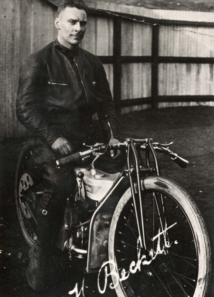 a photo of a man on a motorbike