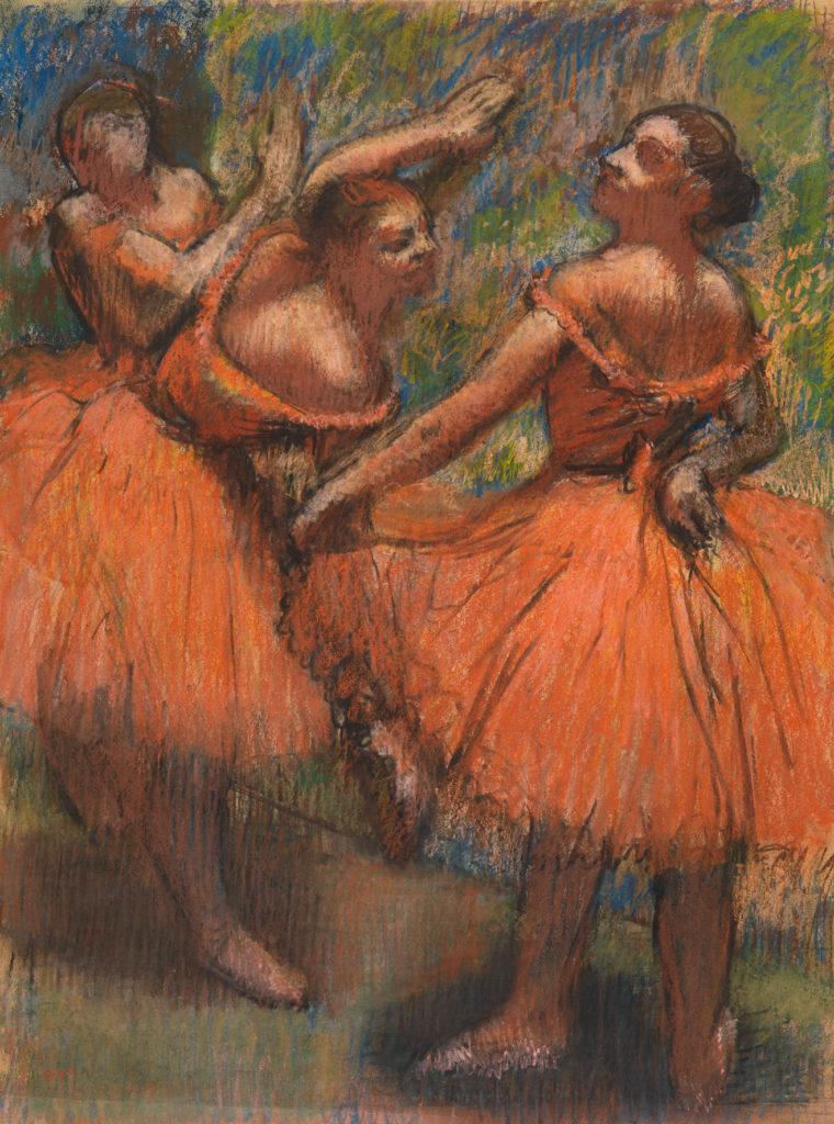 colourful pastel artwork showing three women ballerinas in orange dresses posing