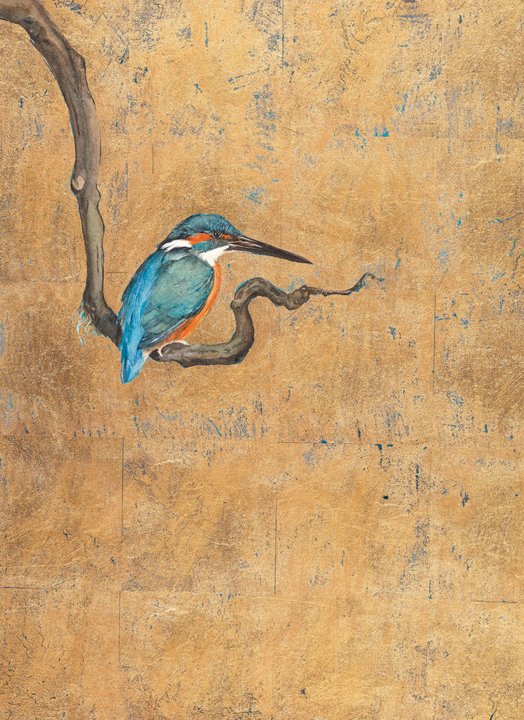 painting of kingfisher perched on a branch
