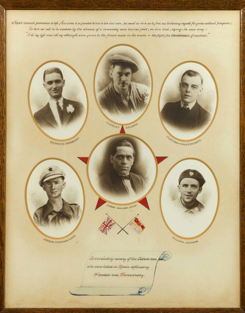 a photographoic memorial with the oval photographs of six men