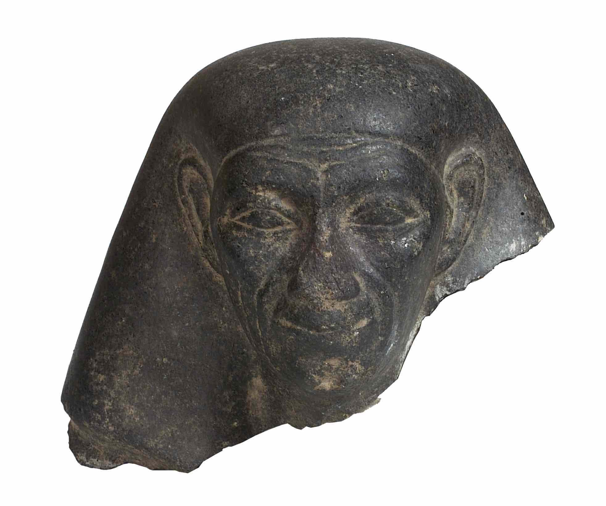 black granit head of an Egyptian male