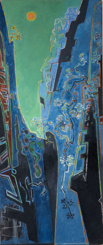 a painting of a ravine bathed in blue light