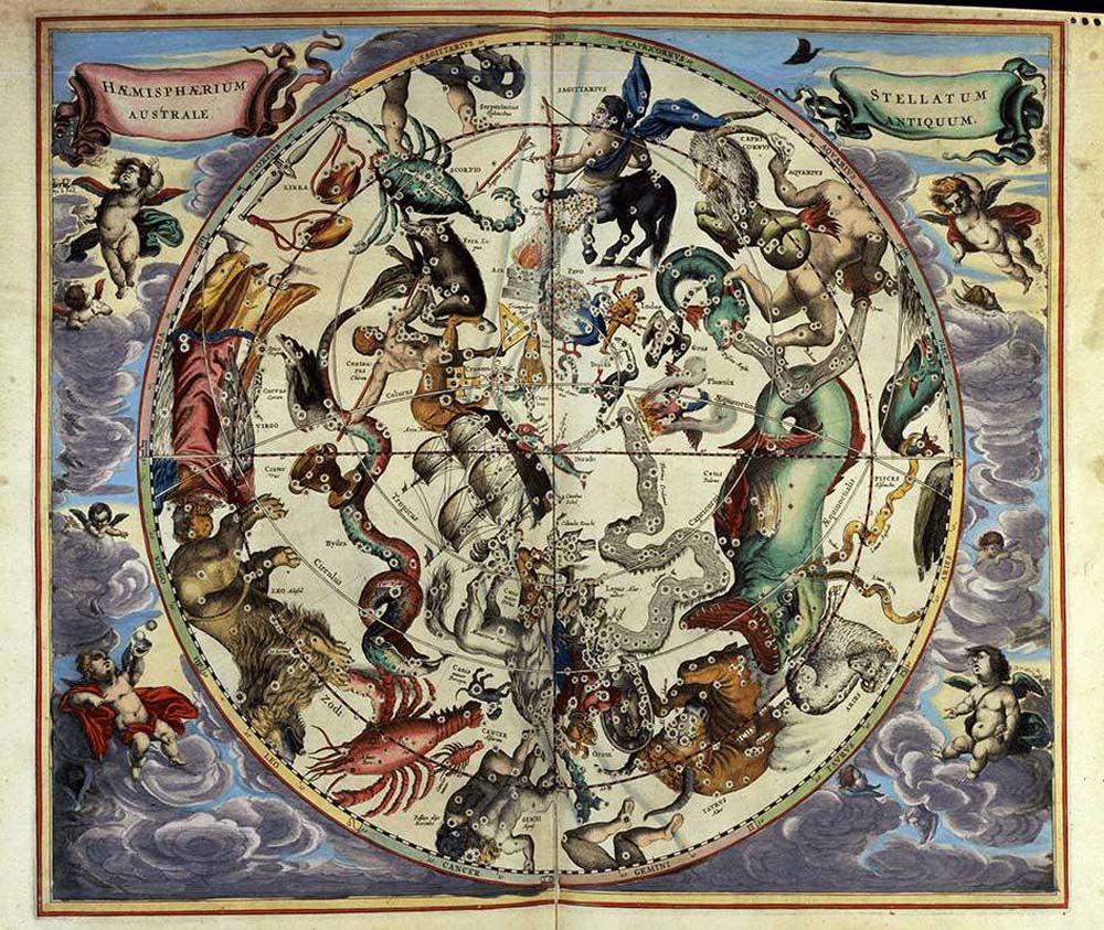 an illustrated astrological globe with creatures and other symbols on it