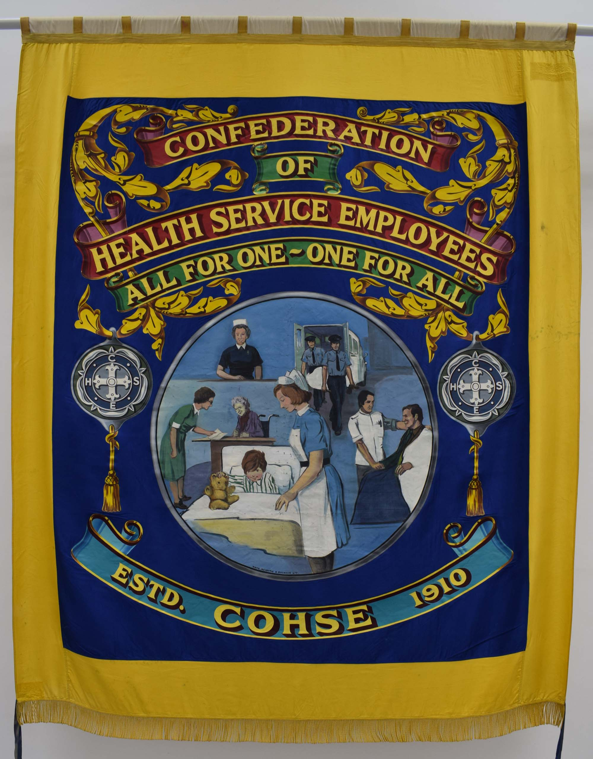 a banner for the COHSE Union with central panel depicting nurses, doctors and ambulance people