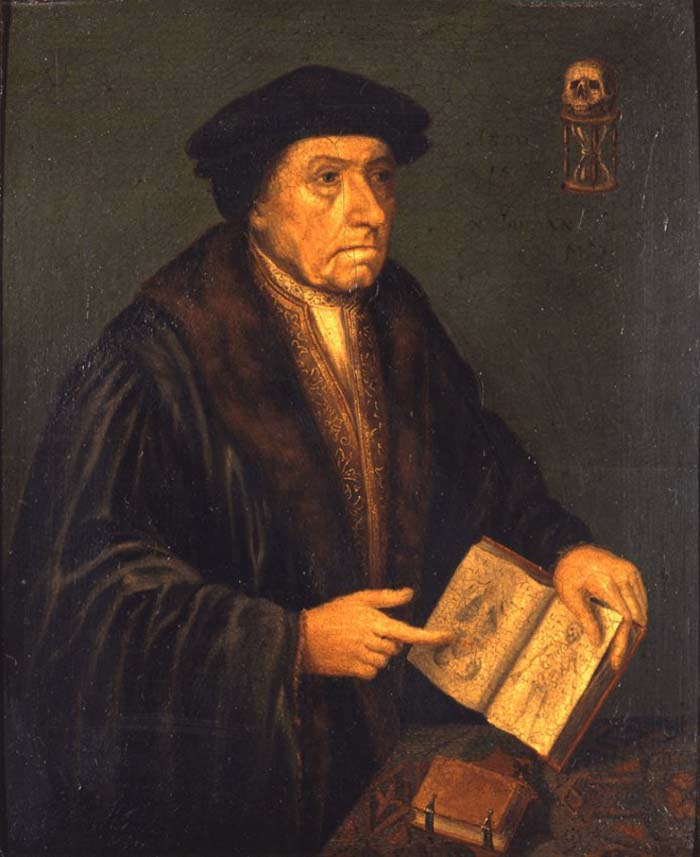 a painted portrait of a man wearing a Tudor Thomas Cromwell style hat and ermine robes