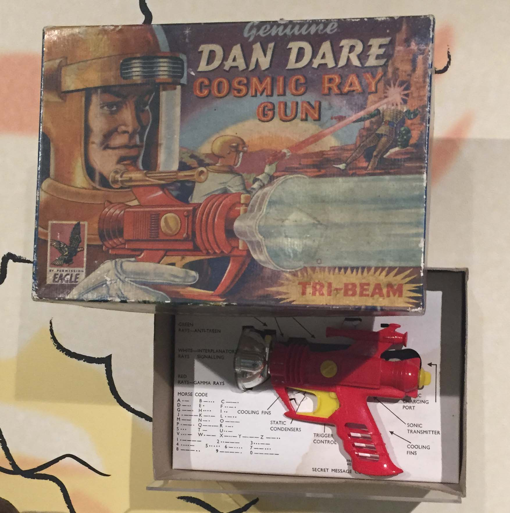 a photo of a Dan Dare box and toy gun