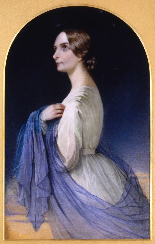 a side portrait of a Georgian era woman in side profile with a blue sash