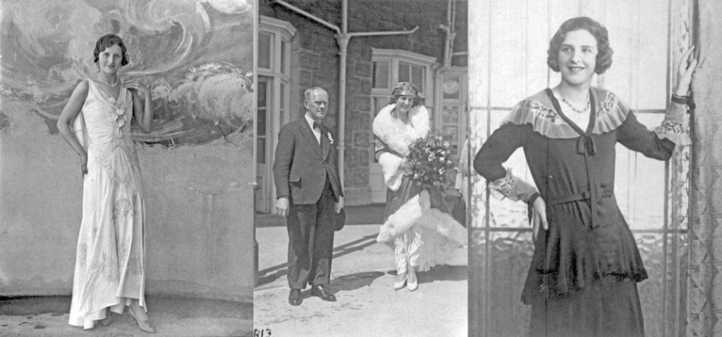 a composite photo of three portraits of a woman in elegant dress either side a photo of her next to an elderly man