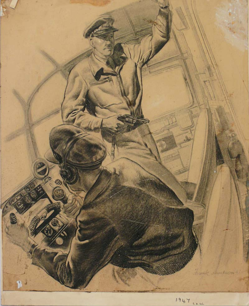 a drawing of two men in military uniform in a cockpit