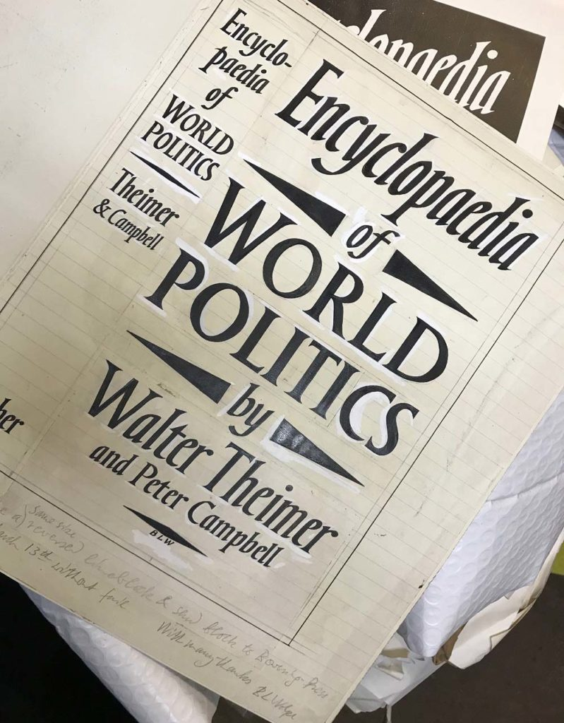 a photo of a trypeface and design mock up the Faber book Encyclopaedia of World politics by Walter Theimer and Peter Campbell